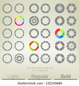 Round graph circular charts, set of thirty design templates, from one to ten rounded arrow shaped segments in three variations of thickness