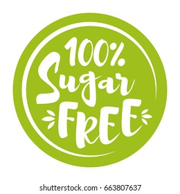 Round green label with text - Sugar free. Vector illustration.
