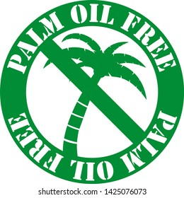 round green palm oil free label with palm tree vector illustration