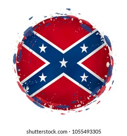 Round grunge flag of Confederate US state with splashes in flag color. Vector illustration.