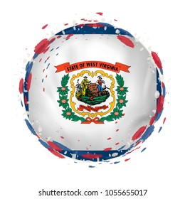 Round grunge flag of West Virginia US state with splashes in flag color. Vector illustration.