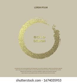 Round Grunge Golden Frame on beige background. Circle luxury vintage border, stamp.Trendy, label, logo design element. Drawn shape vector Illustration. Gold Brush abstract wave.