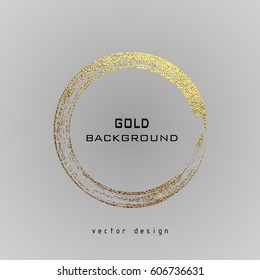 Round grunge golden frame on a gray background. Circle luxury vintage border, Label, logo design element. Hand drawn shape vector Illustration. Gold Brush abstract wave.