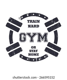 Round grunge gym t-shirt design with barbells, vector illustration, eps10, easy to edit