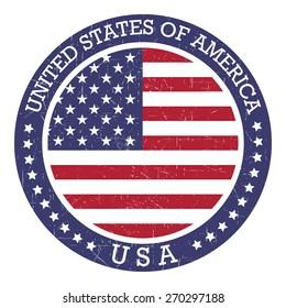 Round grunge stamp of United States of America - USA