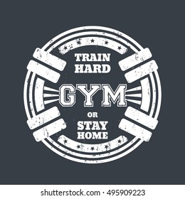 Round gym emblem, t-shirt print with barbells, white on gray