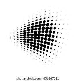 Round halftone dot pattern, element, monochrome abstract graphic for dtp, dpi prepress or generic concepts. Vector modern background for posters, sites, postcards, business cards.