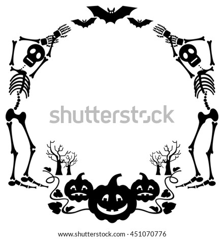 Round Halloween Frame Skeleton Vector Clip Stock Vector (Royalty ...