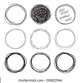 Round hand drawn scribbles frames set
