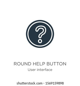 Round help button icon vector. Trendy flat round help button icon from user interface collection isolated on white background. Vector illustration can be used for web and mobile graphic design, logo,