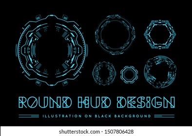 Round HUD futuristic user interface. Sci-Fi future technology display design. Business abstract background. Infographics elements. Mock up vector template