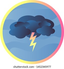 Round icon with beautiful gradient dark blue cloud and yellow-pink lightning on a blue background and with a yellow-pink frame, vector graphics, vector illustration