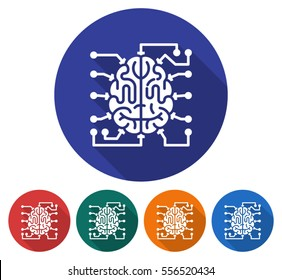 Round icon of  brain as central processing unit with elements of printed circuit board. Flat style illustration with long shadow in five variants background color