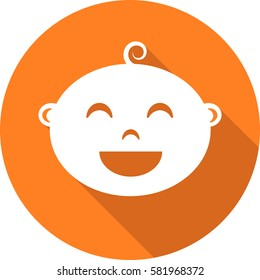 Round icon of child user picture. Baby face icon