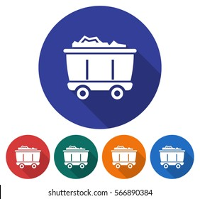 Round icon of coal wagon. Flat style illustration with long shadow in five variants background color