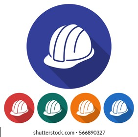 Round icon of construction safety helmet. Flat style illustration with long shadow in five variants background color