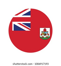Round icon with flag of bermuda isolated on white.