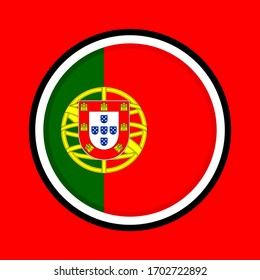 round icon, flag of portugal, isolated on red background