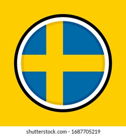 round icon, flag of sweden, isolated on yellow background