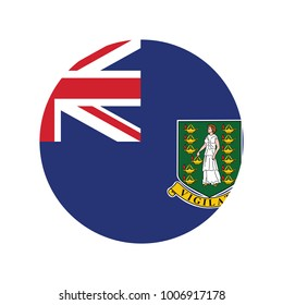 Round icon with flag of virgin islands british isolated on white.