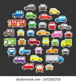 round icon gallery of various cars - pop color plus white color border -