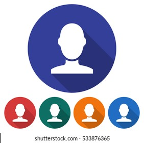 Round icon of male user picture. Flat style illustration with long shadow in five variants background color