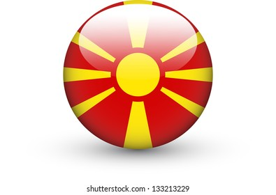 Round icon with national flag of the Republic of Macedonia isolated on white background