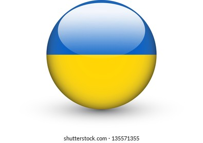Round icon with national flag of Ukraine isolated on white background