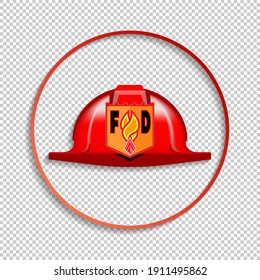 Round icon with shadow. Red helmet and fire department emblem. EPS10