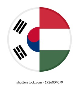 round icon with south korea and hungary flags isolated on white background