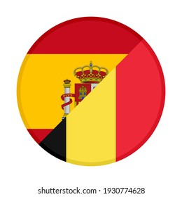 round icon with spain and belgium flags isolated on white background