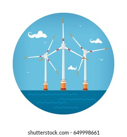 Round Icon Wind Turbines at the Sea, Horizontal Axis Wind Turbines at the Sea off the Coast , Offshore Wind Farm Icon, Vector Illustration