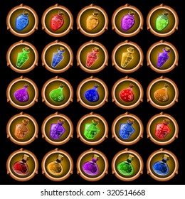 round icons of ancient magic potions on a dark background