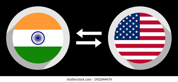 round icons with india and united states flags. inr to usd exchange rate concept