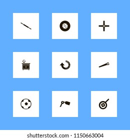 round icons. rolling pin, basketball ball, mirror nightstand and saw vector icons set