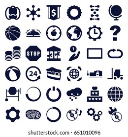 Round icons set. set of 36 round filled icons such as concrete mixer, tractor, vice clamp, piece of cake, pizza, 24 support, disc on fire, disc flame, globe, reload replay