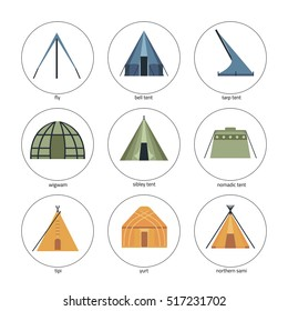 Round icons of tents. Traditional types of tent: bell tent,fly, nomadic tent, sibley tent, tarp tent, tipi, wigwam, yurt,  northern sami.