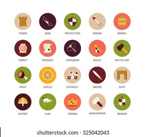 Round icons thin flat design, modern line stroke style, web and mobile design element, objects and vector illustration icons  set 30 - castle and waepon collection