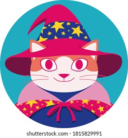 Round illustration with happy orange cat in cartoon style wearing wizard hat and cape decorated with yellow stars