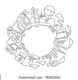 Round illustration travelers Kit tourism holidays world planet Earth. Yacht and palm islands. Hand drawn vector stock outline illustration.