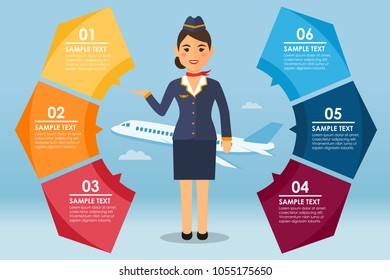 Round infografic with stewardess and airplane. Vector illustration