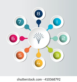 Round infographic 8 steps net flow chart. Diagram, graph, chart, flowchart, banner template. Vector.