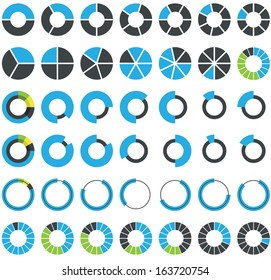 Round infographic elements and pie charts