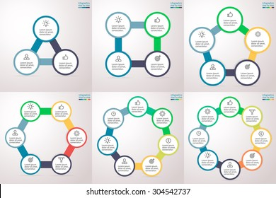 Round information blocks connected in series. Charts, graphs, diagrams with 3, 4, 5, 6, 7, 8 steps, options, parts, processes. Vector infographic templates for presentation, report and training.