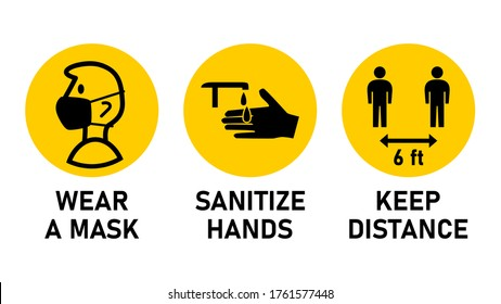 Round Instruction Signs with Basic Set of Measures against the Spread of Coronavirus Covid-19 including Wear a Mask, Sanitize Hands and Keep Distance 6 ft or 6 Feet. Vector Image.