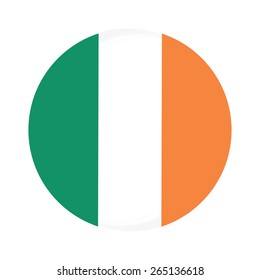 Round ireland flag vector icon isolated, ireland flag button