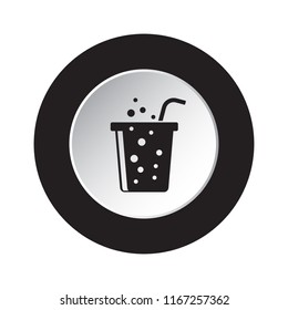 round isolated black and white button icon - fast food carbonated drink with straw