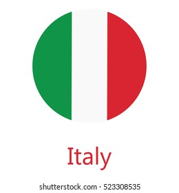 Round italy flag vector icon isolated, italy flag button