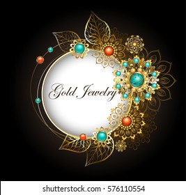 Round, jewelry banner decorated with jewelery, gold and bronze ornaments in ethnic style with turquoise and jasper on dark background.