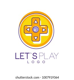 Round joystick in linear style with orange fill. Let s play. Digital entertainment. Colorful vector design for mobile app, electronic or gadget store